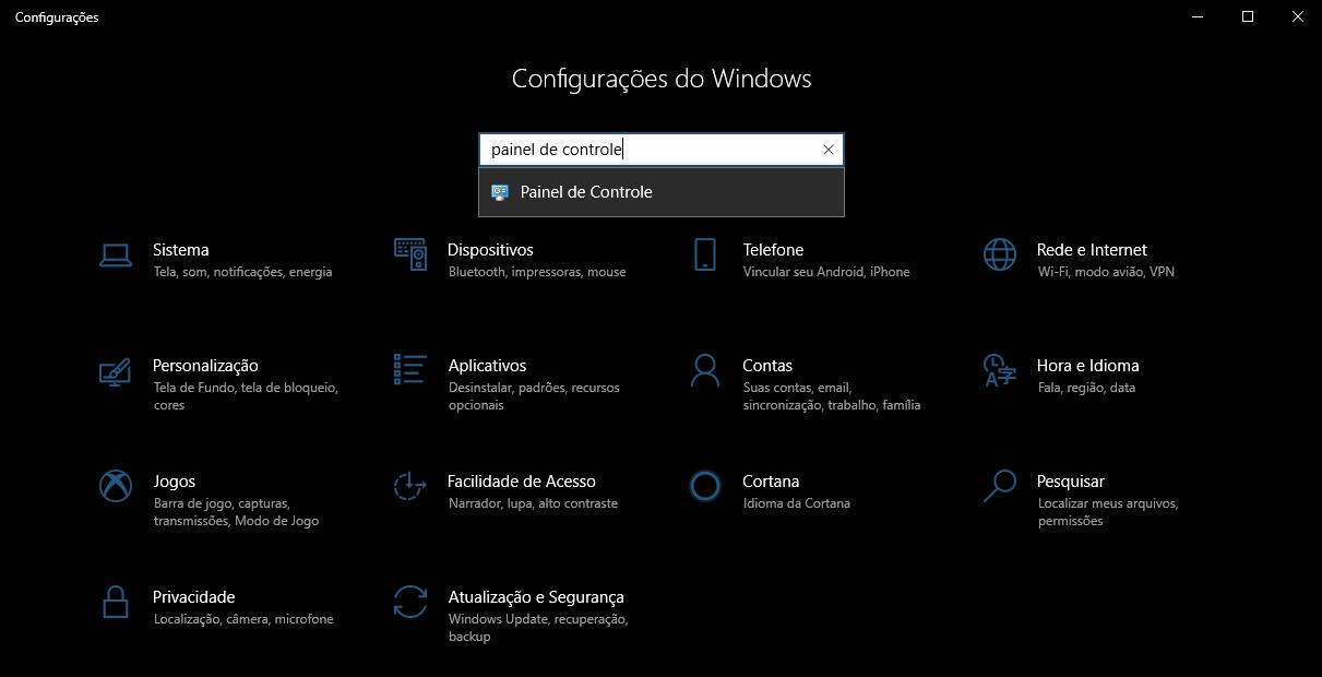 Imagem a demonstrar como abrir o Painel de Controle nas Configurações do Windows 10.
