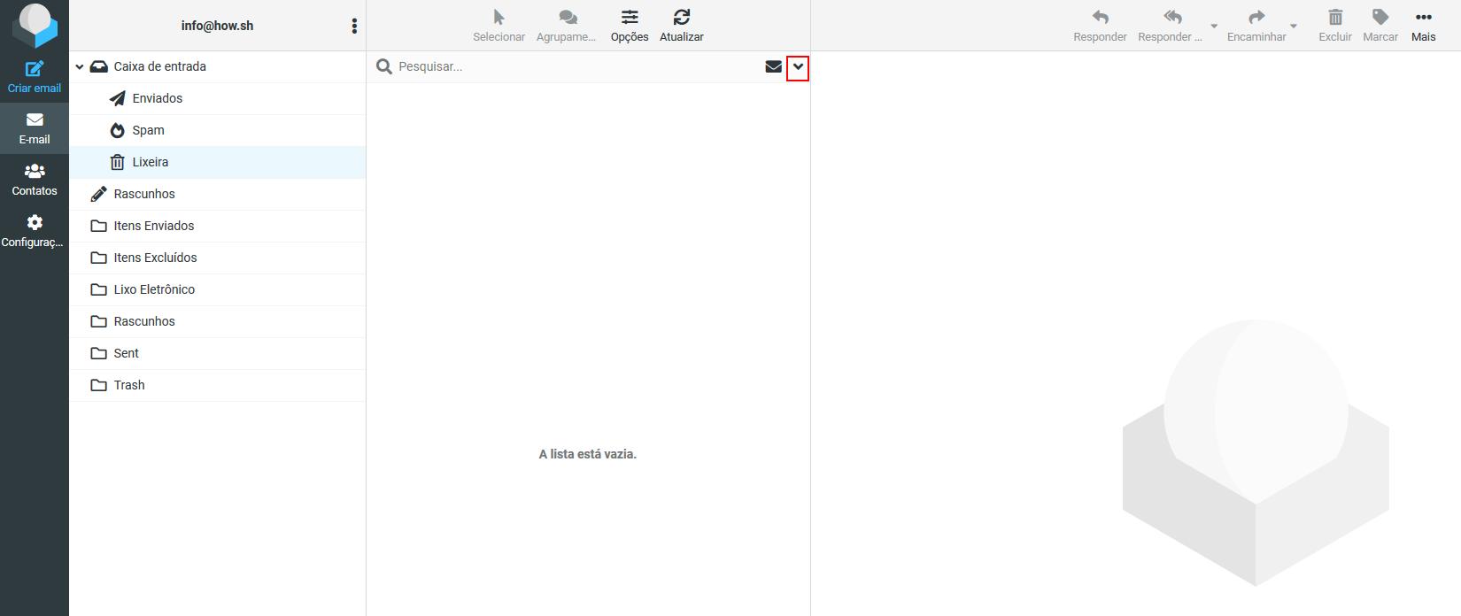 Imagem para mostrar onde a pequena seta está localizada para expandir as opções de pesquisa avançada com o propósito de mostrar como pesquisar mensagens de email no RoundCube.